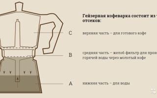 Устройство и принцип работы гейзерной кофеварки