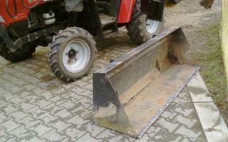Как сделать кун, фронтальный погрузчик, экскаваторный ковш и отвал-лопату на минитрактор своими руками