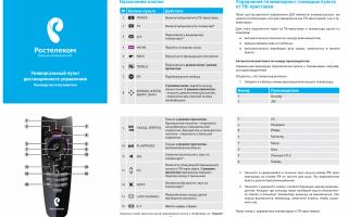 Инструкция по настройке пульта ростелеком на управление телевизором